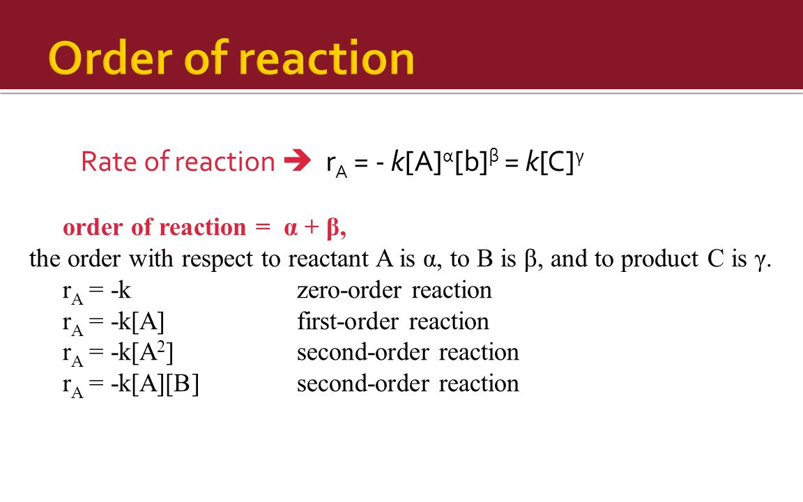 Order of reaction Rate of reaction  rA = - k[A]α[b]β = k[C]γ